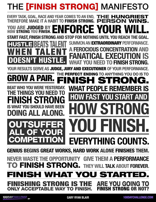 Finish Strong Manifesto - 100 Day Challenge